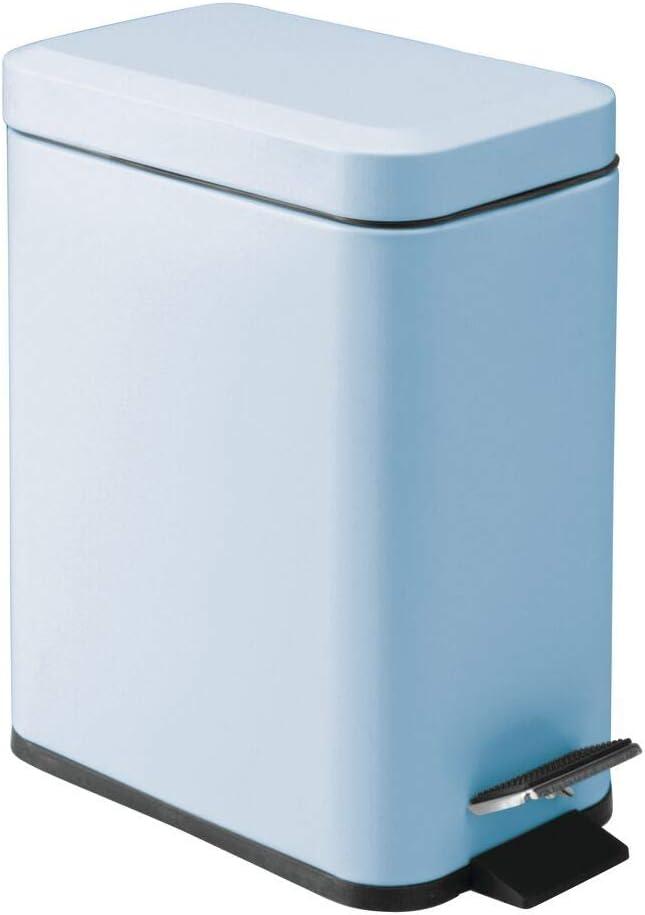 mDesign 1.3 Gallon Rectangular Small Steel Step Trash Can Wastebasket, Garbage Container Bin for Bathroom, Powder Room, Bedroom, Kitchen, Craft Room, Office - Removable Liner Bucket - Light Blue