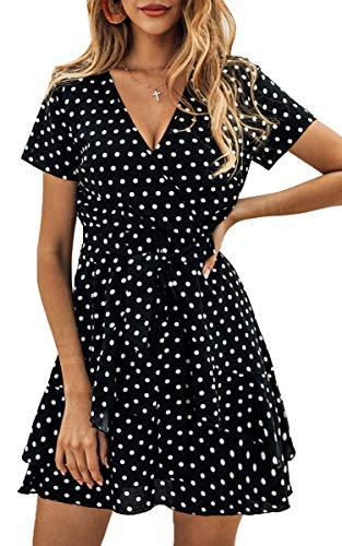 (ECOWISH Women's V Neck Polka Dot Ruffles Mini Sexy Dress Short Sleeve Wrap Summer Dresses with Belt Black Medium )