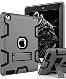 ipad 3 accessories bundle - Topsky High Impact Resistant Hybrid Three Layer Armor Defender Full Body Protective Case for iPad 2/iPad 3/iPad 4 Bundle with Stylus Pen, Screen Protector & Cleaning Cloth - Grey Black