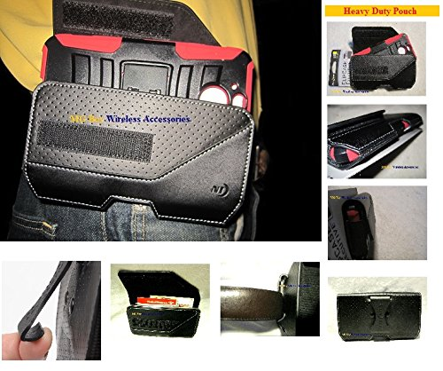 - Nite Ize Extended Black Executive Genuine Leather Horizontal Heavy Duty XX-large Holster Pouch W/Rugged Fixed Belt Clip Fits Htc (Sprint) Bolt With Hybrid Cover Case On Cellphone
