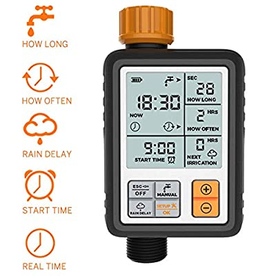 CROSOFMI Sprinkler Timer Digital Programmable Garden Lawn Hose Faucet Watering Timer Irrigation System Controller/Child Lock Mode/Auto&Manual Mode/Rain Delay/3 Inches Large Screen/IP65 Waterproof