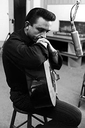 johnny cash 24x36 poster in black shirt with guitar in recording studio 1964 at amazon 39 s. Black Bedroom Furniture Sets. Home Design Ideas
