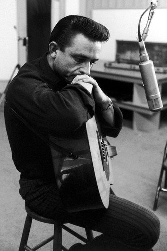 Johnny Cash 24x36 Poster in black shirt with guitar in recording studio 1964 Silverscreen
