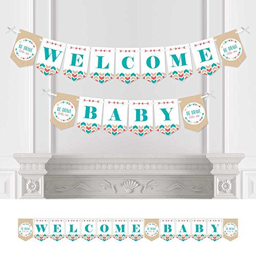Big Dot of Happiness Be Brave Little One - Boho Tribal Baby Shower Bunting Banner - Aztec Tribal Party Decorations - Welcome Baby
