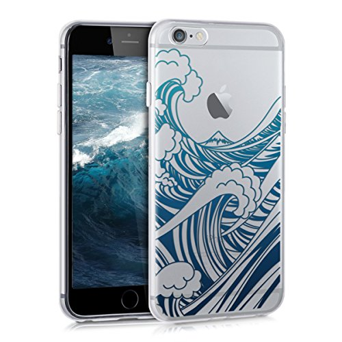 Blue Wave Silicone (kwmobile Crystal TPU Silicone Case for Apple iPhone 6 / 6S in Design waves blue dark blue transparent)