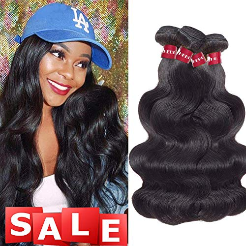 HEBE 10A Peruvian Hair 3 Bundles Body Wave 20 22 24 Inch Virgin Peruvian Body Wave Hair Bundle 100% Unprocessed Human Hair Weave Extensions Natural Black Color