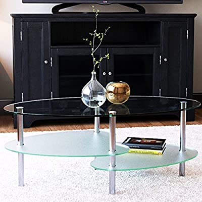 Ryan Rove Fenton 38 Inch Oval Two Tier Glass Coffee Table - Clear Top and Frosted Bottom Glass