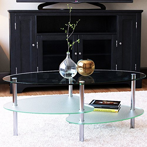 Living Room Oval Coffee Table - Ryan Rove Fenton 38 Inch Oval Two Tier Glass Coffee Table