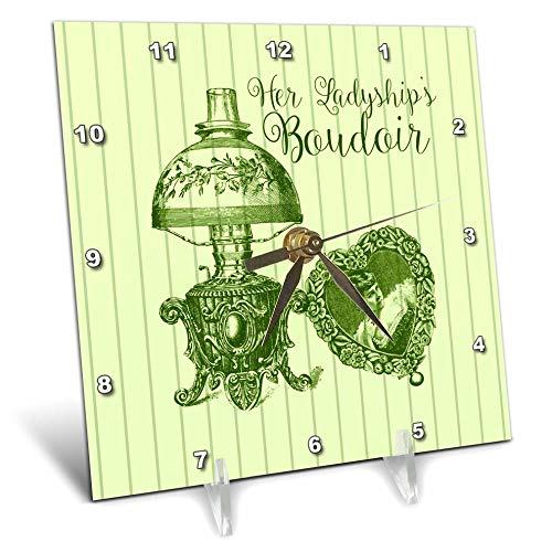 3dRose Russ Billington Designs - Her Ladyships Boudoir-Vintage Oil Lamp and Heart Frame On Green Stripe - 6x6 Desk Clock (dc_291552_1)