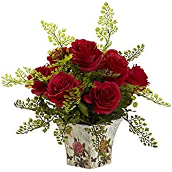 Nearly Natural 1379-RD Rose 7 Maiden Hair with Floral Planter, Valentine's Day Gift Red