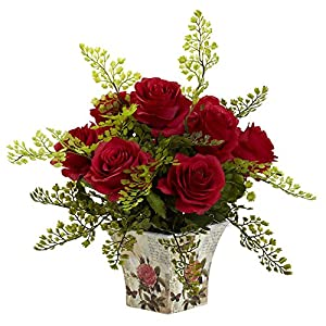 GREATHOPES Red Rose & Maiden Hair w/Floral Planter Artificial Flower Decorative 72