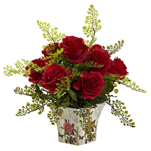 Faux Floral Arrangement - Nearly Natural 1379-RD Rose 7 Maiden Hair with Floral Planter, Red
