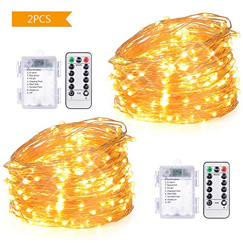 2 Set Fairy Lights 33ft 100 LED String Lights Battery Operated Waterproof Remote Control 8 Modes, Decorative Copper Wire Lights for Indoor Outdoor Decor, Warm White]()
