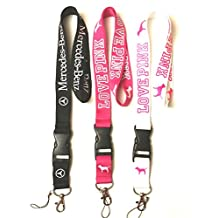 NEW Love Pink/ Mercedes Lanyard Key Chain/ID Holder (COMBO)