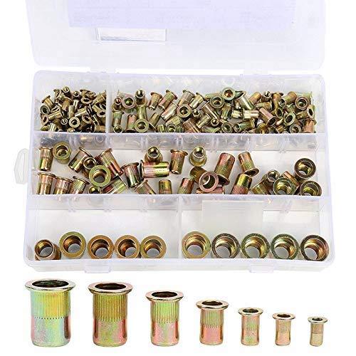 Danlince 165PCS Plated Carbon Steel Rivet Nut M3 M4 M5 M6 M8 M10 M12 Flat Head Threaded Rivet Nutsert Cap Assortment Kits