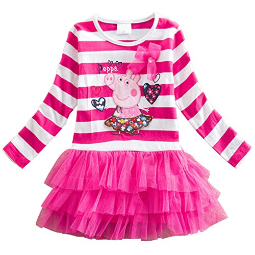 LEMONBABY Peppa Pig Cartoon Little Girls Spring Fall Long Sleeve Tutu Dress (3Y, Pink) ()