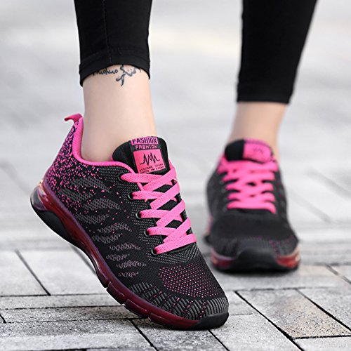 Red Air Walking Women's Fitness Trail Jogging Sneakers Shoes Gym Running LIN amp;LV Sport Workout Cushion Black Fashion wapnAqtO