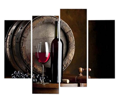 Artwork Wine And Fruit With Glass And Barrel Wall Art Painting For Kitchen Pictures Print On Canvas Food The Picture For Home Modern Decoration (Americana Wall Borders)