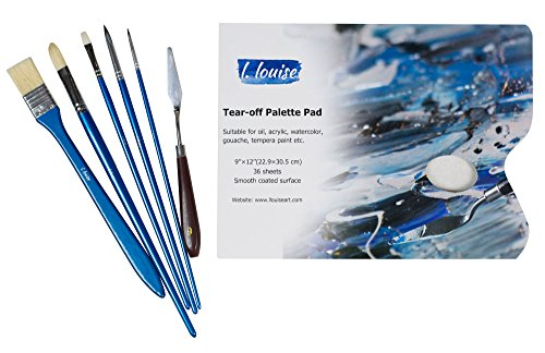 Disposable Craft Knife - L.Louise Art Paint Brush Set with (5) Brushes, (1) Palette Knife and (1) Tear-Off Palette Pad