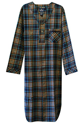 Stafford - Men's Flannel Nightshirt (Large, Teal Brown Plaid)