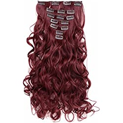 """OneDor 20"""" Curly Full Head Clip in Synthetic Hair Extensions 7pcs 140g (#99J Wine red)"""