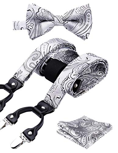 HISDERN Paisley 6 Clips Suspenders & Bow Tie and Pocket Square Set Y Shape Adjustable Braces Gray