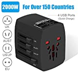 Travel Adapter, 2000W International Power Adapter, All in One Universal Power Adapter 4 Quick Charge USB 3.0 Ports UK, EU, AU, US, Over 150 Countries (Black)
