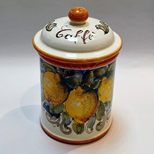 - Arte D'Italia Imports Volute Handmade Hand Painted Coffee Canister Made in Italy