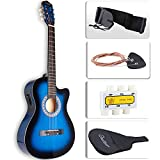 LAGRIMA 38'' Guitar Acoustic Cutaway Design Natural 6 Steel Strings with Nylon Bag,Tuner, Picks, Strap for Beginners, Kids, Adults Blue