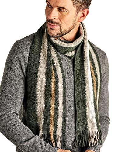 (WoolOvers Mens Lambswool Vertical Stripe Scarf Green, 1size)