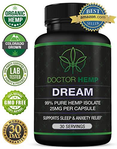 Doctor Hemp Dream   for Sleep Support & Anxiety Relief   750mg of Pure Organic Hemp Extract + Melatonin, Chamomile, Valerian Root, L-Theanine, GABA   Natural Sleep Aid   Vegan, Non-GMO   30 Serv