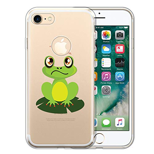 FINCIBO Case Compatible with Apple iPhone 7 2016 / iPhone 8 2017 4.7 inch, Clear Transparent TPU Silicone Protector Case Cover Soft Gel Skin for iPhone 7/8 (NOT FIT 7 Plus, 8 Plus) - Dragonfly Frog