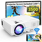 """#LightningDeal WiFi Mini Projector, Jinhoo M10 2019 Latest Update 3500 Lux [100"""" Projector Screen Included] HD Home Theater Supported 1080P with 176'' Projector Size Compatible with TV Stick, HDMI, USB, SD, VGA"""