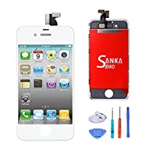 SANKA LCD Display Touch Screen Digitizer Frame Assembly Full Set Screen Replacement for iPhone 4 GSM-White