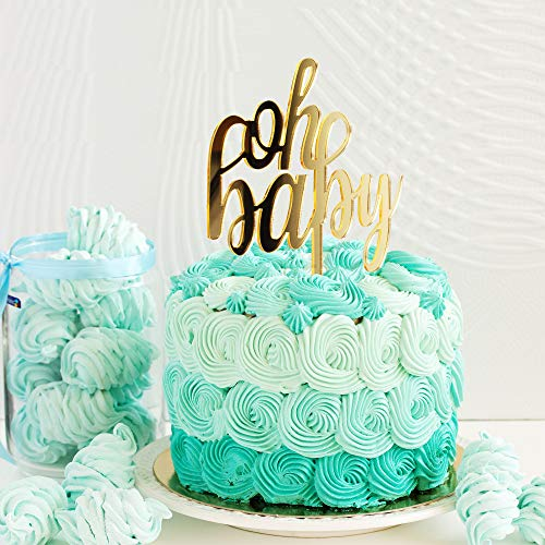 Amazon.com: Oh Baby Gold - Decoración para tartas con espejo ...