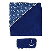 Premium Baby Hooded Bath Towel And Baby Washcloth Set Funny Designs for Baby Boys 0-36 Months (2-piece Set), Navy Anchors, One Size