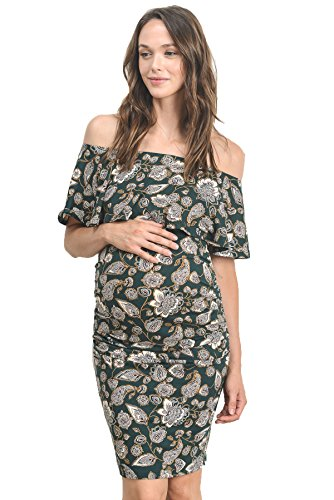 ba7f40a136263 Hello MIZ Women's Floral Ruffle Off Shoulder Maternity Dress - Made in USA ( Small, H.Green Floral)