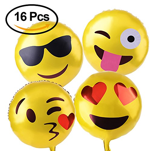 Price comparison product image Kuuqa Reusable Emoji Mylar Party Balloons Emoji Balloons Emoji Party Supplies, 16 Piece