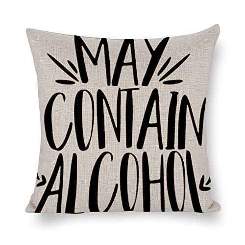 UCLIPERS Decorative Throw Pillow Covers Set, May Contain Alcohol Drinking Girl Party Cotton Linen Cushion Covers 18 X 18 Inch -