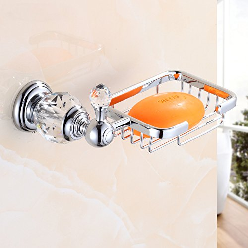OWOFAN Soap Holder For Bathroom Kitchen Soap Basket Soap Dish Wall Mounted Brass Chrome Silver HK-30L (Style European Soap Dish)
