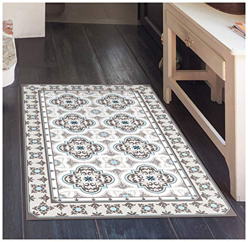 """Toscana Vinyl Floor Mat: Decorative Linoleum PVC Rug Runner Tile Flooring in 12 Choices, Colorful, Durable, Anti-Slip, Hand Washable, and Protects Floors 47.2"""" x 27.5"""""""