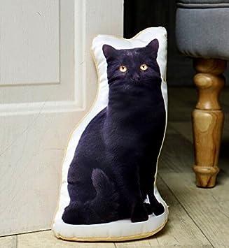 Pet Cushions Tope para Puerta con diseño de Gato Negro para Amantes de los Gatos, Hecho de Hermosos Tejidos de Terciopelo Suave y Satinado.