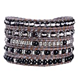 KELITCH Natural Agate 5 Wrap Bracelets On Grey Leather Woven Braided Charm Bracelets Gifts