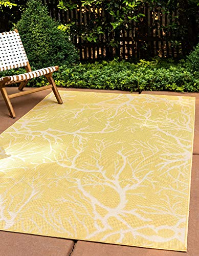 Unique Loom Outdoor Collection Botanical Abstract Indoor and Outdoor Transitional Yellow Area Rug (4' x 6')
