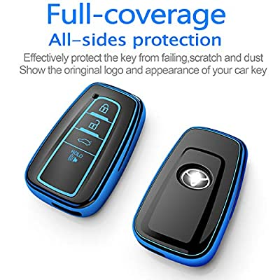 Tukellen for Toyota Key Fob Cover,Special Soft TPU Key Case Cover Protector Compatible with 2020-2020 Toyota RAV4 Camry Avalon C-HR Prius Corolla(only for Keyless go)-Blue: Automotive
