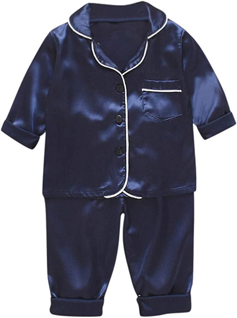 VEKDONE Toddler Baby Boys /& Girls Satin Pajamas Set PJS Long Sleeve Cartoon Button-Down Sleepwear Loungewear