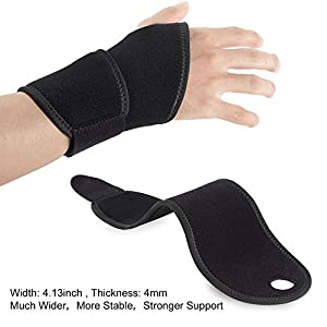 Wrist Brace,Wrist Wraps Support Hholding [2 Pack] Adjustable Straps Fits for Carpal Tunnel,Volleyball,Badminton,Tennis,Basketball,Weightlifting-For Women and Men Left and Right Hand Black