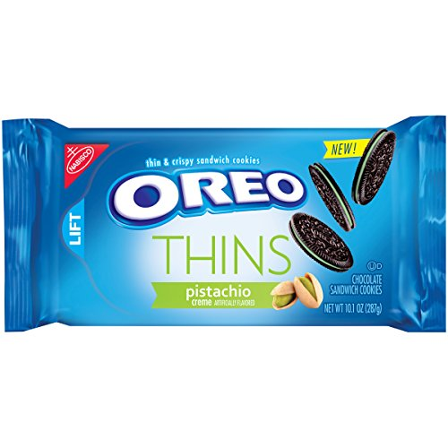 Oreo Thins Pistachio Creme Chocolate Sandwich Cookies, 10.1 Ounce