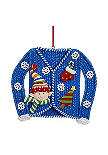 Ugly Christmas Sweater Ornament (Blue)