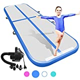 ZFlice Air Track Tumbling Mat for Gymnastics Inflatable Airtrack Floor with Electric Pump for Home Use Cheer Training Cheerleading Beach Park Water